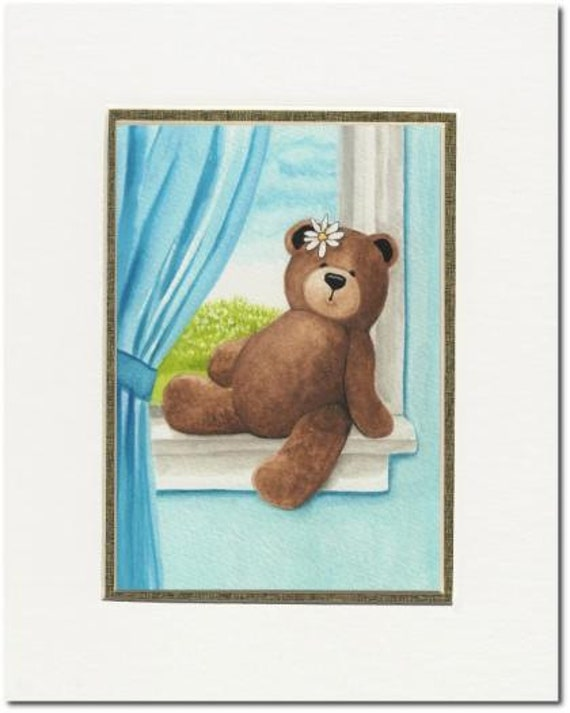 Hand Painted Original Teddy Bear Painting Art by AmyLyn Bihrle - Childs Room Matted 5x7 Original