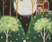 Moonlit Serenade Folk Art Print