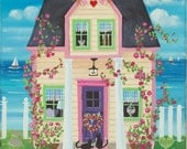 Candy Hearts Cottage Folk Art Print
