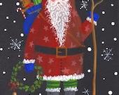 Ho Ho Ho Folk Art Santa Print