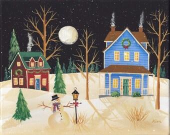 Winter Whispers Folk Art Print