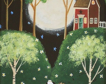 Moonlit Serenade Folk Art Print