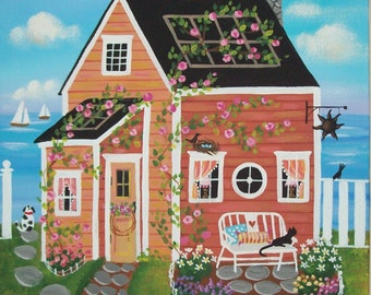 Sunset Cove Cottage Folk Art Print