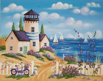 Ocean Blue Folk Art Print