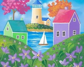 Violet Hills Folk Art Print