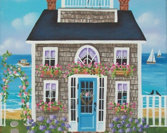 Nantucket Breeze Cottage Original  Folk Art Print