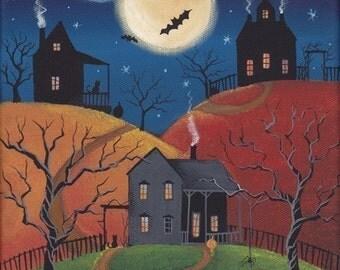Creepy Hollow Folk Art 10 x 8 Print