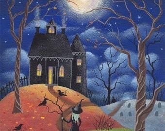 Folk Art Halloween Print Full Moon