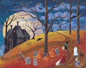 Raven Hill Halloween Folk Art 10 x 8 Print