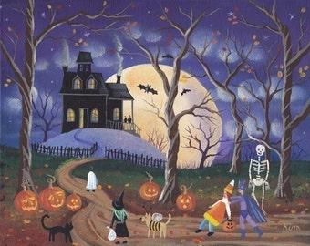 Dont Be Scared Halloween Folk Art 10 x 8 Print