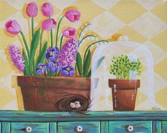 Spring Flowers Folk Art Print