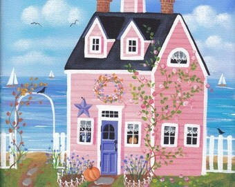 Chicory Rose Cottage Folk Art Print