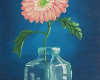Orange Gerber Daisy Original Folk Art Print