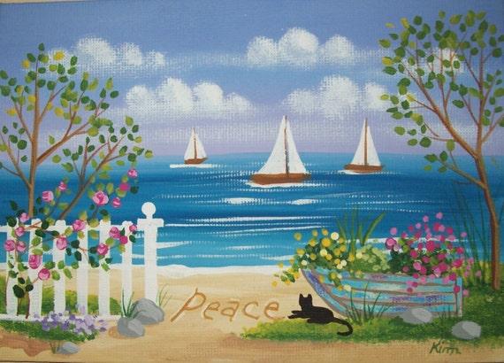 ?crit dans le sable 3 Folk Art Print