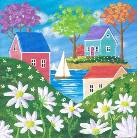 Daisy Hills Folk Art Print