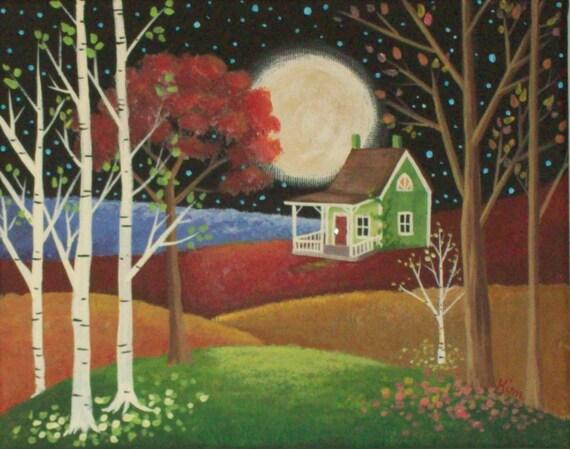 La lune et l'étoiles Folk Art Print