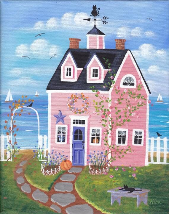 Chicorée Rose Cottage Folk Art Print