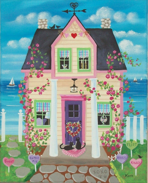 Candy Hearts Cottage Folk Art Print