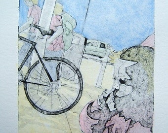 Hand Coloured Original Collagraph Hand Pulled Artist Print