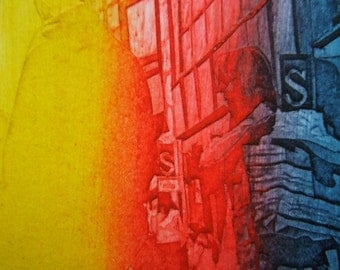 Shopping II (Original Hand Pulled Collagraph Artists Print)