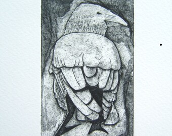 Black Crow (Original Collagraph Hand Pulled Artist Print)