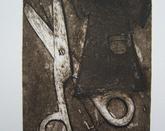 Scissors (Original Collagraph Hand Pulled Artist Print)