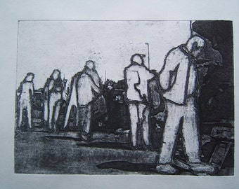 Car Boot (Original Collagraph Hand Pulled Artist Print)
