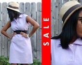 Vtg 60s Purple Lavender Mod Housewife Mini GoGo Dress M