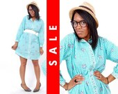 Vtg 70s Blue Checkered Plaid Floral Pastel Mini Dress M
