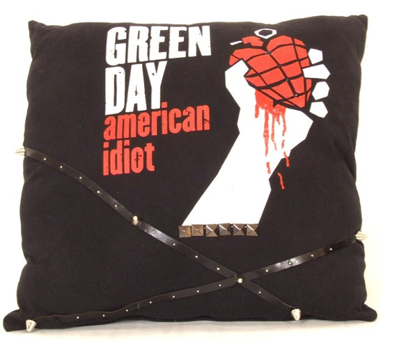Throw pillow from Green Day vintage tshirt with studs