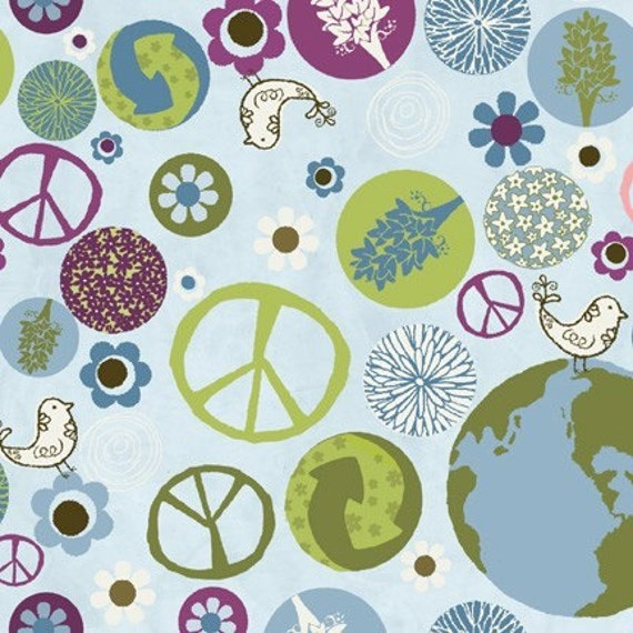 Studio e fabric peaceful planet peace on earth in lt blue 1 for Fabric planet