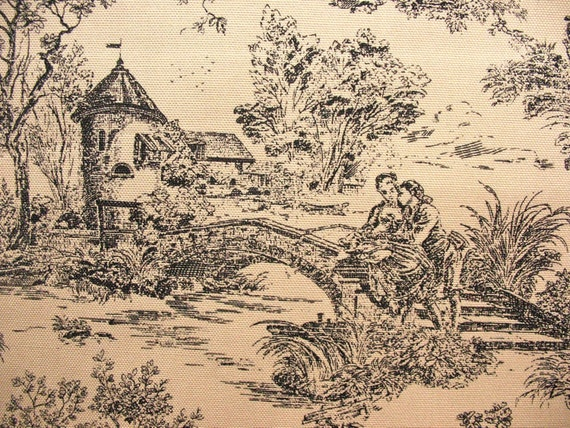 CLOSEOUT Black and Camel Toile Home Decor Fabric 34