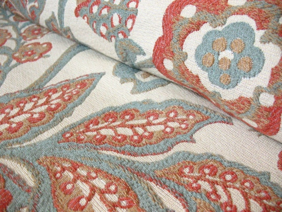 RESERVED for nin1 Coral and Blue Floral Home Decor Fabric