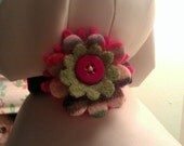 Rainbow Hot Pink and Green Flower for Dogs or Cats - Handmade
