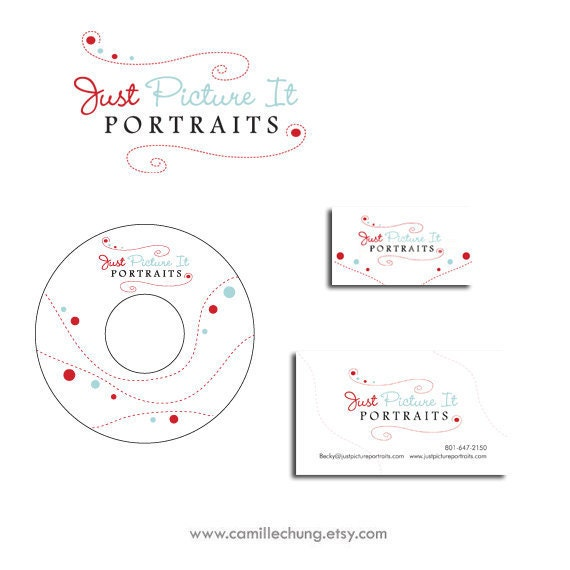 Photography Branding Package, Custom Logo Design, Photography Logo, Branding Package, Logo, Watermark, 3 Collateral Items, by Camille Chung
