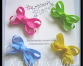 Bright Dainty Baby Bows - Set of 4 - Boutique Baby Bows - No Slip