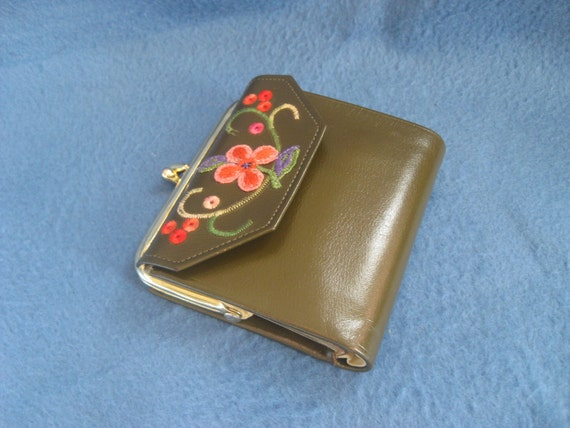 Vintage, Princess Gardner, Green Leather, Cowhide, Embroidered Flower, Wallet and Coin Purse