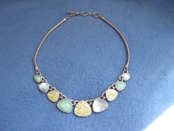 Vintage, Beautiful, Green Stone and Metal Necklace