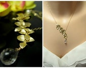 Asymmetrical Golden Quintuple Orchid Flowers with Freshwater Pearl and Rock Crystal Quartz Briolette on 14KT GOLD FILLED Chain - Cascade Necklace