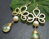 Lemon Mystic Quartz Briolette, Freshwater Pearl and Golden Curlycue Design -Earrings
