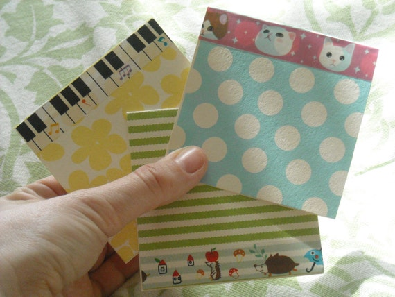 Mini Cards - Pastel Prints with Deco Tape (Set of 12)