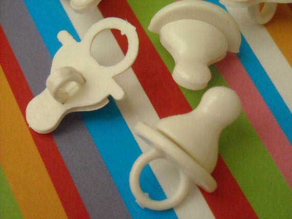 Pacifier Buttons - White Plastic Shank (6 Buttons)