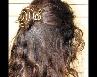 Handmade Barrette Bun Holder Hair Fashion Accessory Brass Barrette Copper Barrette