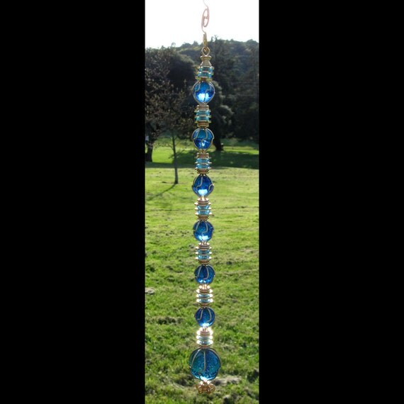Eco Glass Suncatcher Garden Ornament Blue Ice Drop