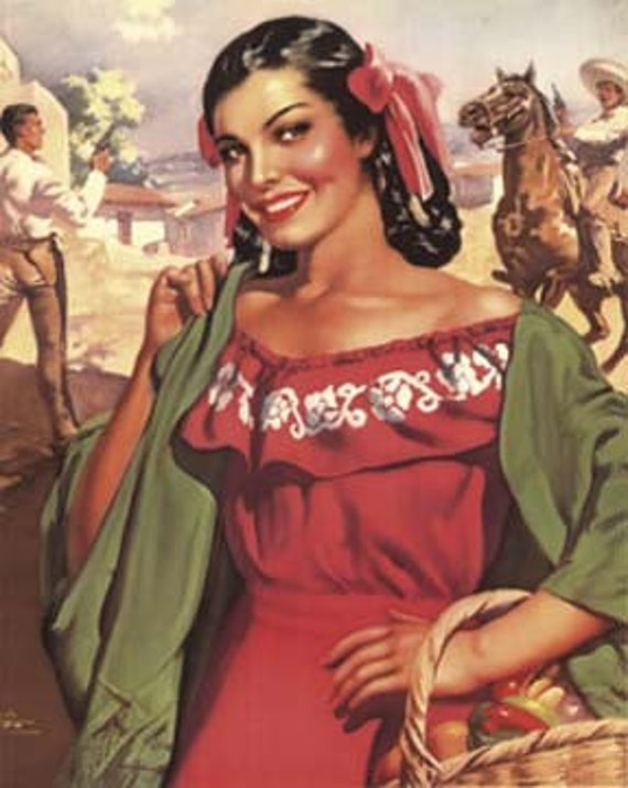 Mexican Calendar Art : Items similar to vintage mexican calendar art la