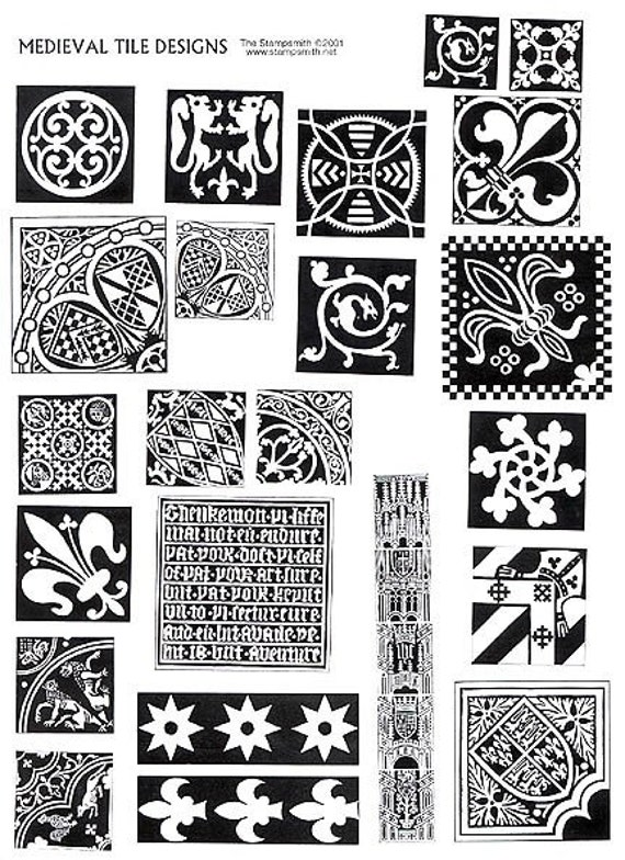 Medieval Tile Design Stamp Unmounted Sheet Set 23 By