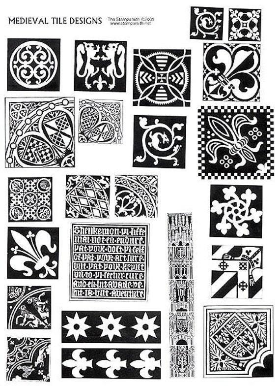 Medieval Tile Design Stamp Unmounted Sheet Set 23 By