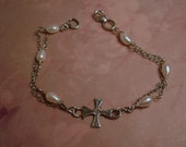 Mothers Day Bracelet sterling silver cross sterling chain religious prayer fresh water rice pearls