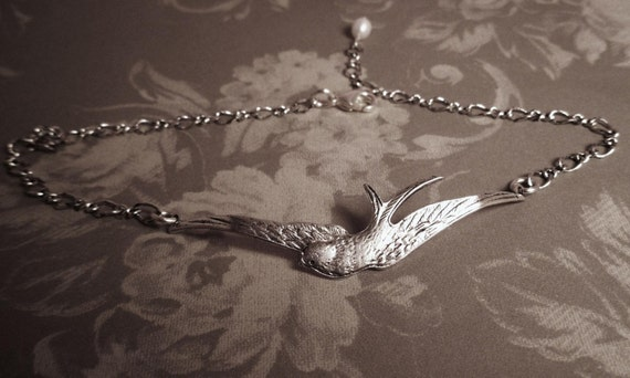 Silver Jewelry Anklet Swallow with Pearl adjustable fresh water pearl