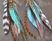 Long Tribal Feather Earrings